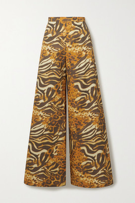 Miguelina Pamela Animal-print Cotton-poplin Wide-leg Pants - Orange