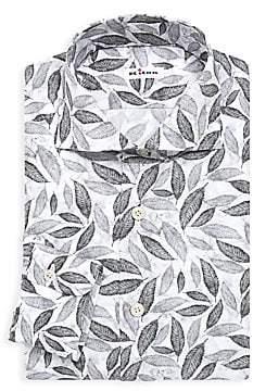 Kiton Men's Contemporary-Fit Leaves Print Dress Shirt