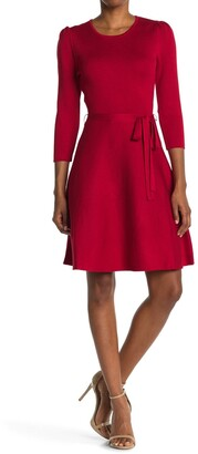Nina Leonard Scoop Neck Jacquard Dress