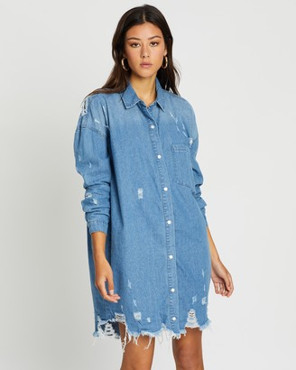 Missguided Super Hem Distressed Denim Shirt Dress