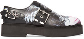 Alexander McQueen Printed Leather Platform Loafers - Black