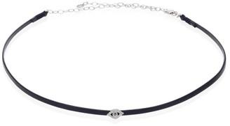 Sydney Evan Bezel Evil Eye Diamond, Blue Sapphire & Leather Choker