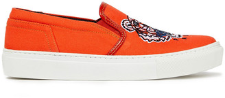 Kenzo Embroidered Cotton-canvas Slip-on Sneakers