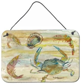 Caroline's Treasures Crab, Shrimp, Oyster Yellow Sky Wall or Door Hanging Prints
