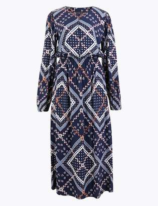Marks and Spencer Patchwork Printed Waisted Midi Dress