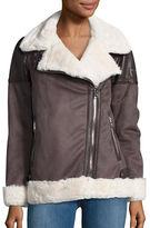 Michael Kors Faux Fur Lined Moto Zip Coat