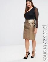 Elvi Embellished Leather Look Pencil Skirt