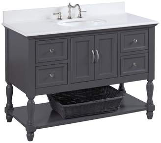 "Kitchen Bath Collection Beverly Bath Vanity, Base: Charcoal Gray, 48"", Top: Quartz"