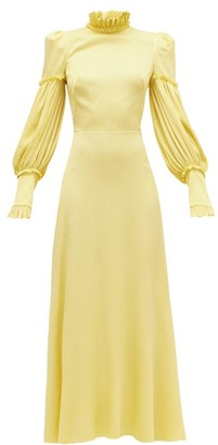 The Vampire's Wife The Dahlia Hammered Silk-blend Dress - Yellow