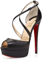Christian Louboutin Cross Me Platform Red Sole Sandal, Black