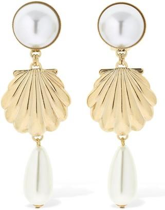 Rowen Rose Shell Drop Clip-on Earrings