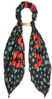 Balenciaga logo-print silk floral scarf
