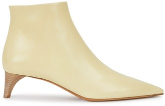 Jil Sander 50 Cream Leather Ankle Boots
