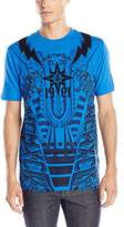 Southpole Men's Short Sleeve Flock and Screen Print T-Shirt with Lightning and Wings
