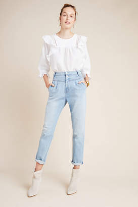 Mother The Pleated Ultra High-Rise Straight Jeans