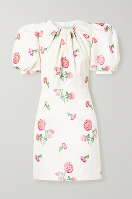 Andrew Gn Gathered Floral-jacquard Mini Dress - Off-white