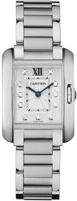 Cartier Tank Anglaise Small Stainless Steel & Diamond Bracelet Watch