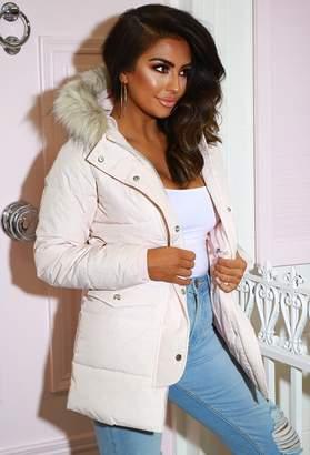 Pink Boutique Brandi Pink Longline Puffer Jacket With Fur Hood