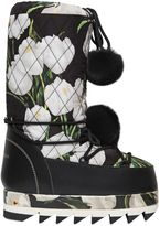 Dolce & Gabbana Tulips Printed Nylon & Lapin Snow Boots