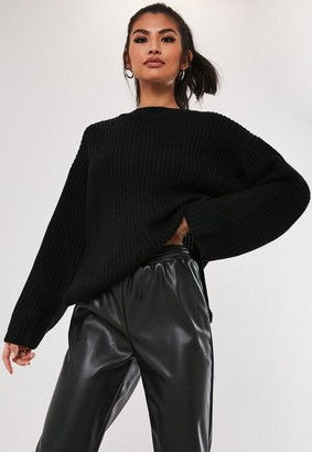 Missguided Black Rib Side Split Long Knit Sweater