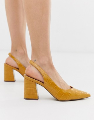 New Look slingback block heeled shoes in dark yellow croc