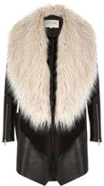 River Island Womens Black faux fur fallaway coat