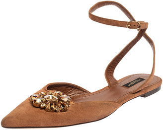 Dolce & Gabbana Brown Suede Leather Bellucci Crystal Embellished Ankle Strap Flat Sandals Size 41