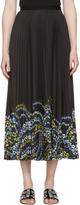 Erdem Black Pleated Floral Hem Skirt