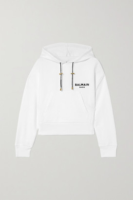 Balmain Cropped Flocked Cotton-jersey Hoodie - White