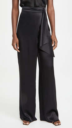 Cushnie High Waisted Wide Leg Pants with Faux Tie