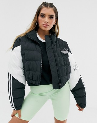 adidas cropped puffer jacket in black