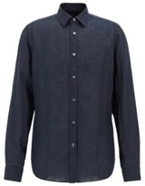BOSS Regular-fit shirt in linen with roll-up sleeves