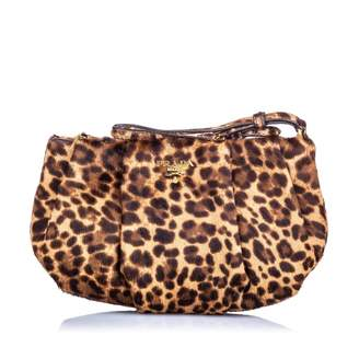 Prada Brown Pony-style calfskin Clutch bags
