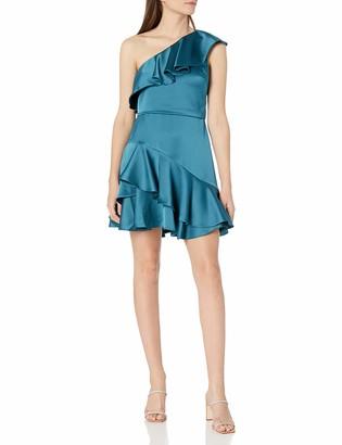 Halston Women's One Shoulder Flounce Dress