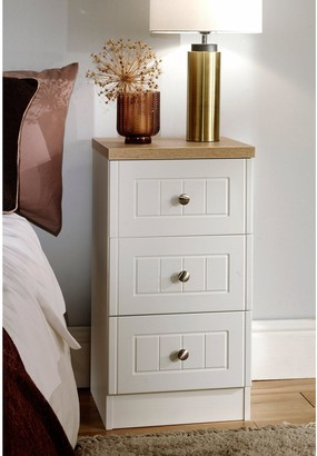 Swift Naples Part Assembled 4 Piece Package - 3 Door Mirrored Wardrobe, 5 Drawer Chest and 2 Bedside Chests