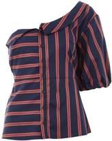 Topshop Striped One Shoulder Shirt Top