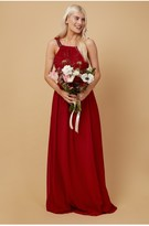 Thumbnail for your product : Little Mistress Bridesmaid Lauren Red Lace Insert Maxi Dress With Keyhole