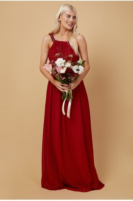 Little Mistress Bridesmaid Lauren Red Lace Insert Maxi Dress With Keyhole