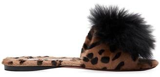 Aquazzura Off Duty Foxy Leopard-Print Goat Hair & Alpaca Pom-Pom Slides