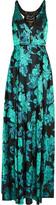 Badgley Mischka Embellished tulle-paneled floral-jacquard gown