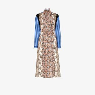 Prada Floral Print Pleated Sable Dress