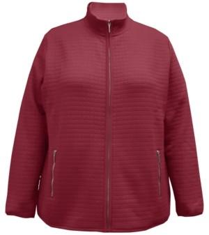Karen Scott Plus Size Quilted Fleece Jacket, Created for Macy's