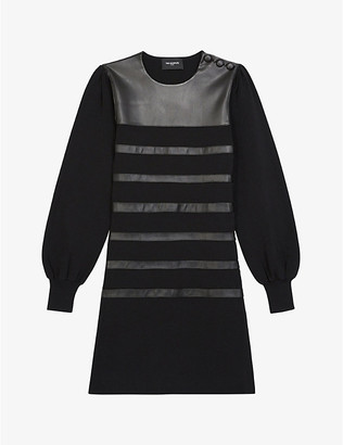 The Kooples Leather-embellished woven mini dress