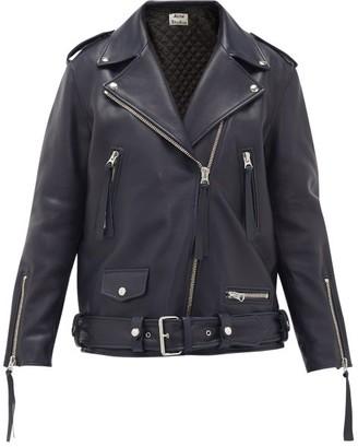 Acne Studios Myrtle Leather Biker Jacket - Womens - Navy