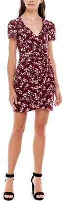Ultra Flirt Juniors' Printed Faux-Wrap Bodycon Dress