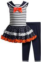 Youngland Toddler Girl Sailor Collar Tutu Dress & Leggings Set
