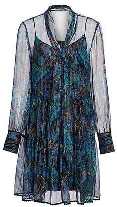 See by Chloe Floral Tie-Neck Chiffon-Silk Long-Sleeve Mini Shirtdress