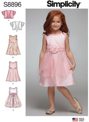 Simplicity Childrens' Sleeveless Dress Sewing Pattern, 8896, A