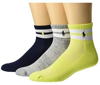 Polo Ralph Lauren 3-Pack Beach Stripe Quarter Socks (Pale Green) Men's Crew Cut Socks Shoes