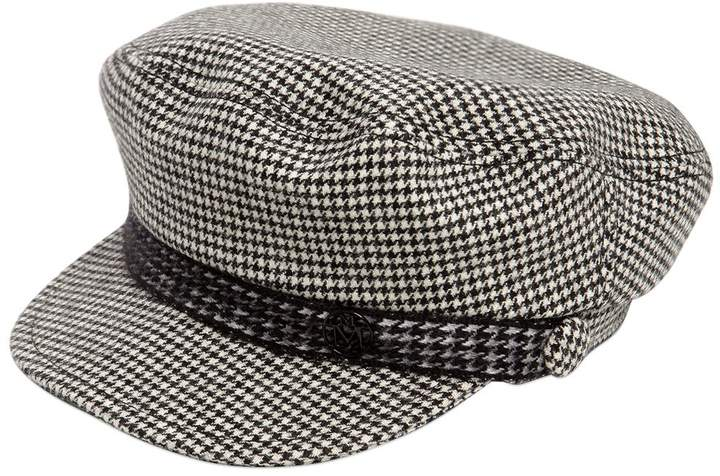 Maison Michel New Abby Houndstooth Wool & Cashmere Hat